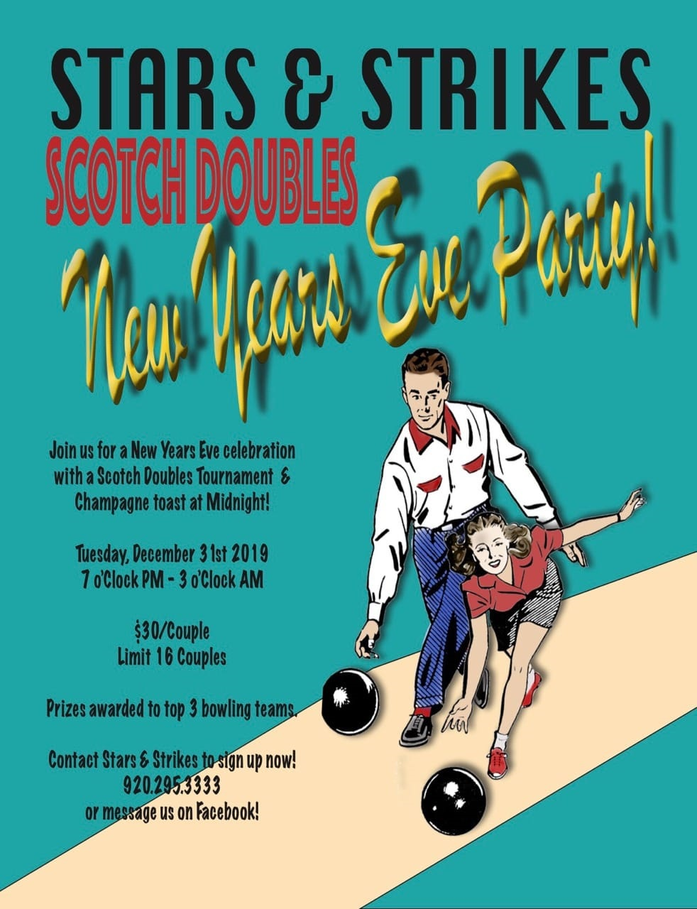 New Year's Eve Party/Scotch Doubles Tournament Couples bowling tournament